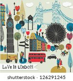 colorful illustration of london ... | Shutterstock .eps vector #126291245