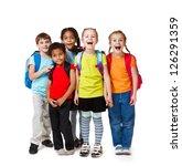 surprised kids crowd in... | Shutterstock . vector #126291359