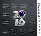 2019 calendar template. grey... | Shutterstock .eps vector #1262917687