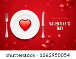 valentine's day set with red... | Shutterstock .eps vector #1262950054