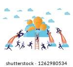 businessmen on rocket and light ... | Shutterstock .eps vector #1262980534