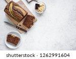 homemade chocolate banana bread ... | Shutterstock . vector #1262991604