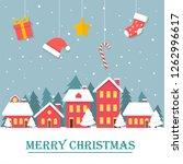 vintage christmas landscape... | Shutterstock .eps vector #1262996617