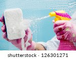 cleaning   cleaning window pane ... | Shutterstock . vector #126301271