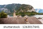hallstatt town with its famous... | Shutterstock . vector #1263017641