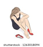 young woman suffering from legs ... | Shutterstock .eps vector #1263018094
