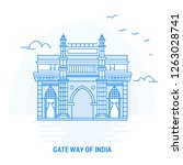 gate way of india blue landmark.... | Shutterstock .eps vector #1263028741