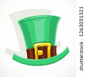 green hat with gold buckle of... | Shutterstock .eps vector #1263031321