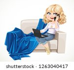 cute blond girl sitting with... | Shutterstock .eps vector #1263040417