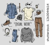 hand drawn set of men's casual... | Shutterstock .eps vector #1263044614