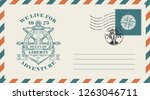 postal envelope with postage... | Shutterstock .eps vector #1263046711