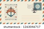 postal envelope with postage... | Shutterstock .eps vector #1263046717