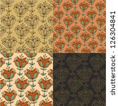 set of floral tulips patterns   Shutterstock .eps vector #126304841