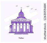 pantheon landmark purple dotted ... | Shutterstock .eps vector #1263055684