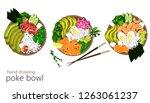 hawaiian salmon  tuna and... | Shutterstock .eps vector #1263061237