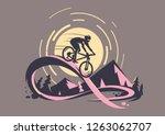 Trail ride tour. Mountain bike emblem  - stock vector