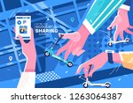scooter sharing online system... | Shutterstock .eps vector #1263064387