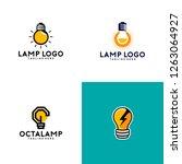 lamp logo design vector | Shutterstock .eps vector #1263064927