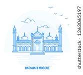 badshahi mosque blue landmark.... | Shutterstock .eps vector #1263065197