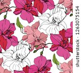 vector pink orchid. floral... | Shutterstock .eps vector #1263075154