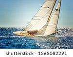 sailing yacht. sailboat under... | Shutterstock . vector #1263082291