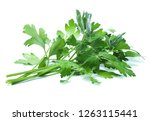 parsley herb isolated on white... | Shutterstock . vector #1263115441