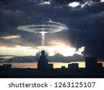 alien spacecraft flying over... | Shutterstock . vector #1263125107