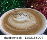 mocha coffee close up top down...   Shutterstock . vector #1263156004