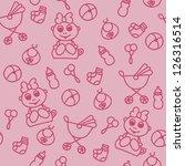 seamless baby girl shower... | Shutterstock .eps vector #126316514