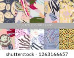 collection of seamless patterns.... | Shutterstock .eps vector #1263166657