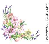 watercolor flowers corner with...   Shutterstock . vector #1263191344