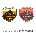 mountain camping badges with... | Shutterstock .eps vector #1263208204