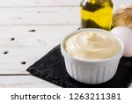 aioli sauce and ingredients on... | Shutterstock . vector #1263211381