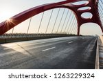 red cable bridge and road ground | Shutterstock . vector #1263229324