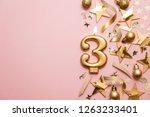 number 3 gold celebration... | Shutterstock . vector #1263233401