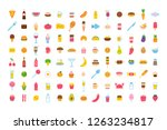 set of vector cartoon food icon ... | Shutterstock .eps vector #1263234817