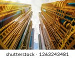 skyscrapers looking up at the... | Shutterstock . vector #1263243481