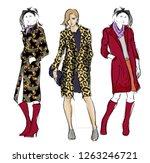 fashion girls sketch. fashion... | Shutterstock .eps vector #1263246721