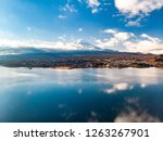 aerial view over lake kawaguchi ... | Shutterstock . vector #1263267901