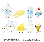 cute cartoon dairy products... | Shutterstock .eps vector #1263269377