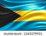 bahamas  flag of silk  3d... | Shutterstock . vector #1263279931