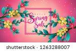 spring sale banner with leaf... | Shutterstock .eps vector #1263288007