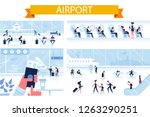 airport horizontal background.... | Shutterstock .eps vector #1263290251