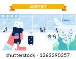 airport horizontal background.... | Shutterstock .eps vector #1263290257