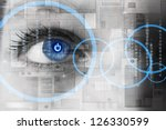 human eye with power button... | Shutterstock . vector #126330599