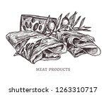 sketch of tasty slices of meat  ... | Shutterstock .eps vector #1263310717