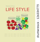 healthy lifestyle card. vector... | Shutterstock .eps vector #126334775