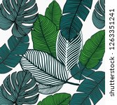 Watercolor seamless pattern with tropical leaves: palms, monstera, passion fruit. Beautiful allover print with hand drawn pencil exotic plants. Swimwear botanical design. Vector