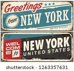 greetings from new york america ... | Shutterstock .eps vector #1263357631