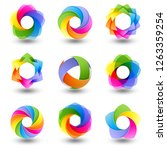 set of abstract round design... | Shutterstock . vector #1263359254